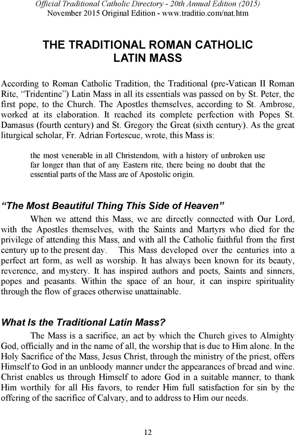 OFFICIAL TRADITIONAL CATHOLIC DIRECTORY - PDF