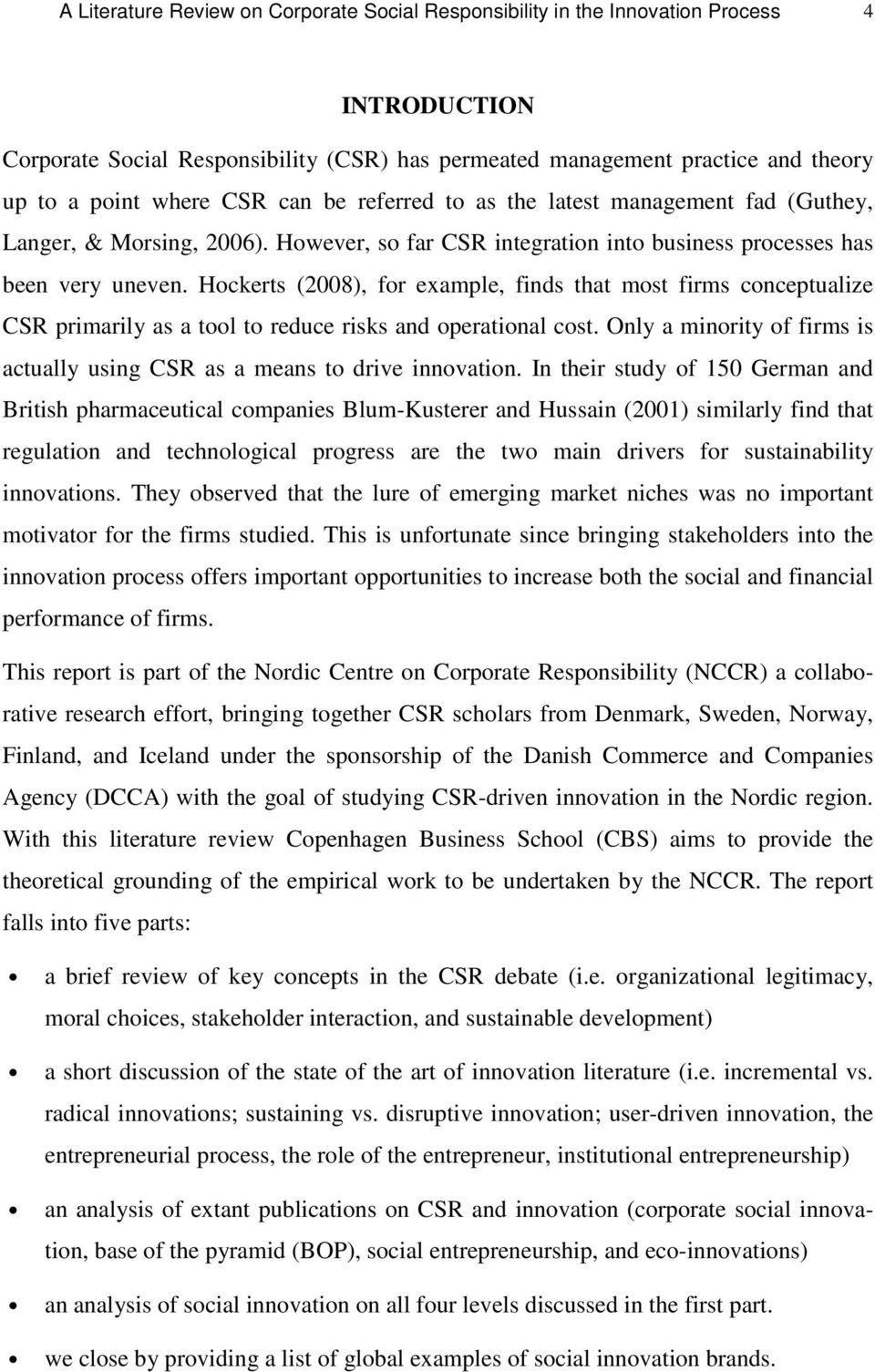 A Literature Review on Corporate Social Responsibility in