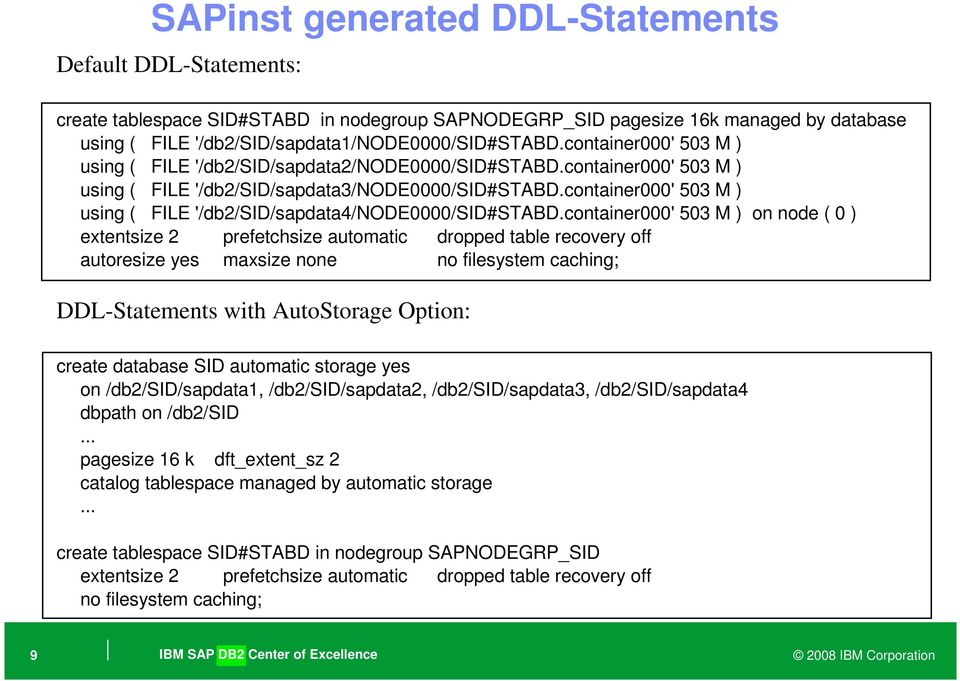 DB2 Database Layout and Configuration for SAP NetWeaver
