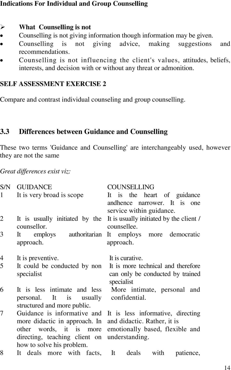 difference between guidance and counselling