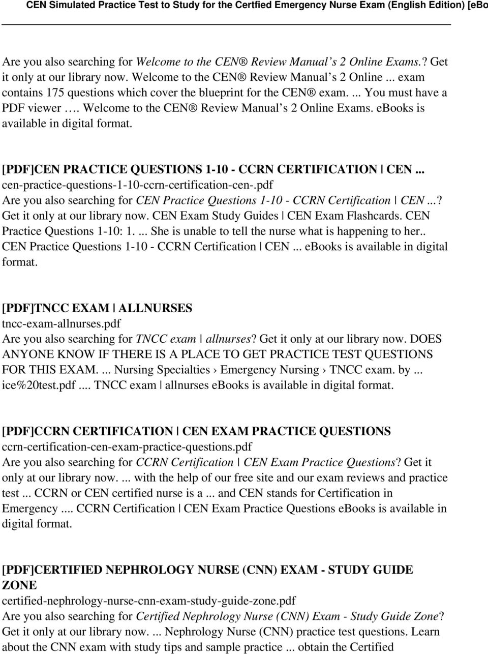 Nephrology study guide array cen simulated practice test to study for the certfied emergency rh docplayer net fandeluxe Image collections