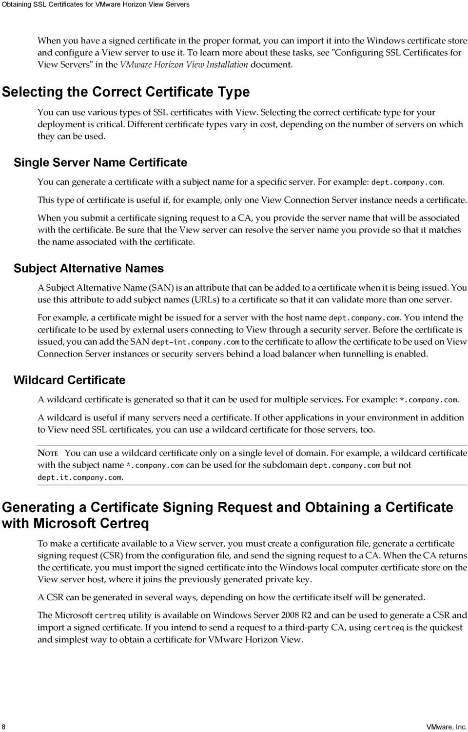 Obtaining Ssl Certificates For Vmware Horizon View Servers Pdf