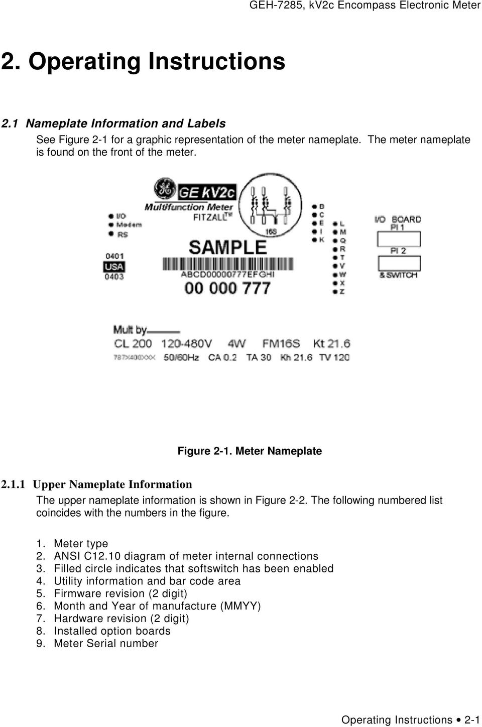 Ge Kv2c Tm Encompass Electronic Meter Pdf 9s Socket Wiring Diagrams The Following Numbered List Coincides With Numbers In Figure 1 Type