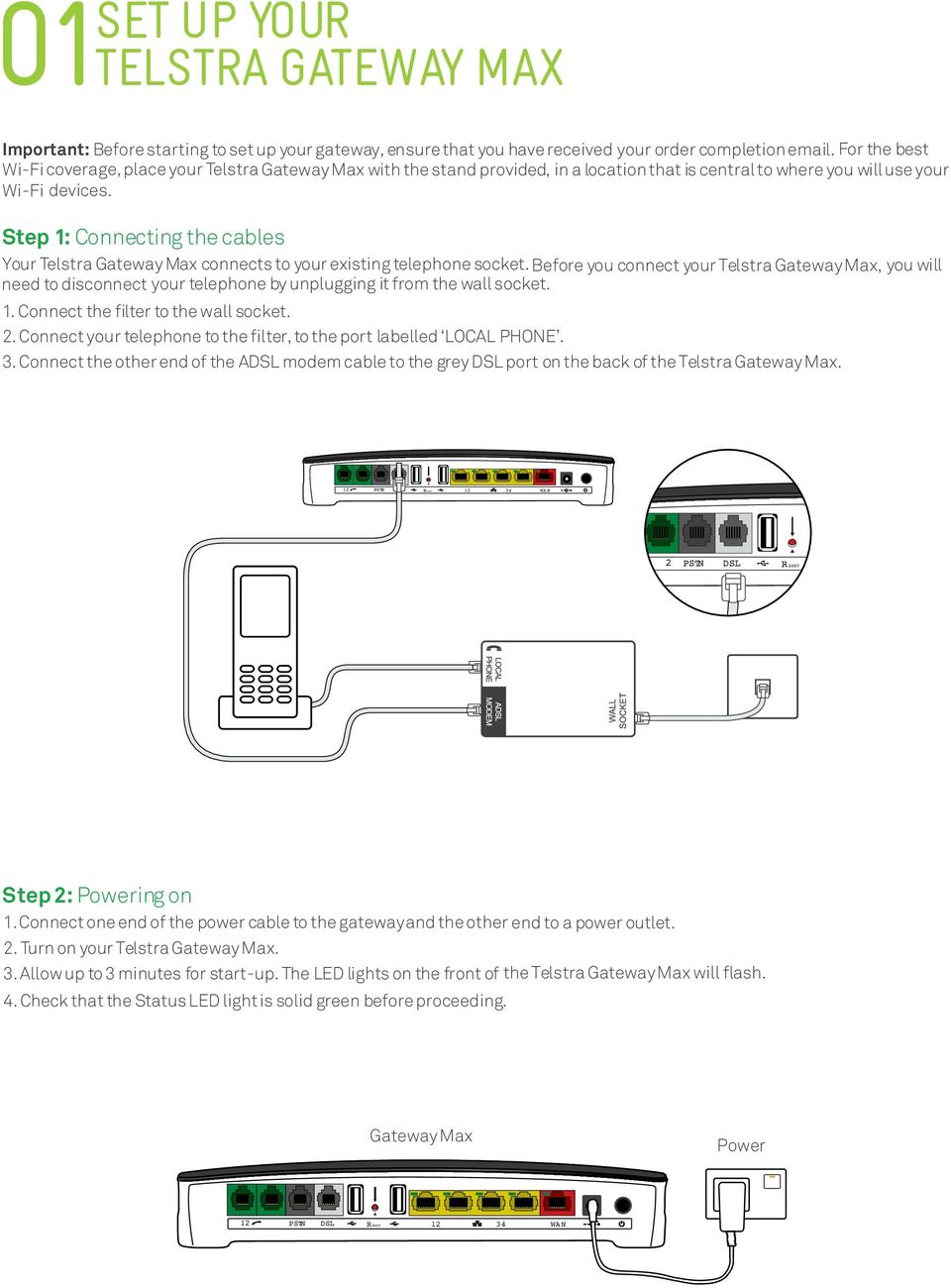 Get Connected With Your Telstra Gateway Max Quick Start Guide Fold Home Phone Wiring Diagram Step 1 Connecting The Cables Connects To Existing Telephone Socket
