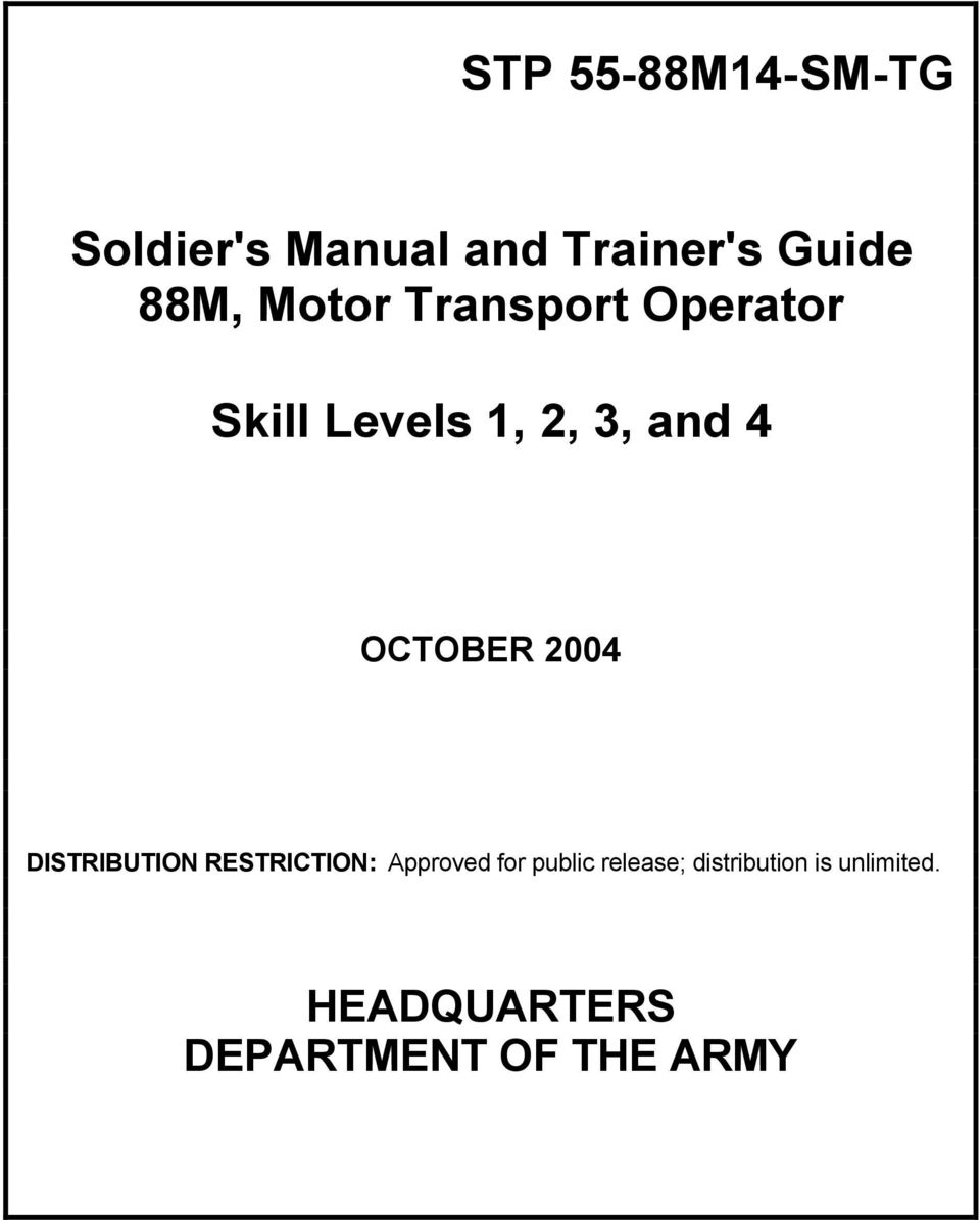 Soldier\'s Manual and Trainer\'s Guide 88M, Motor Transport ...