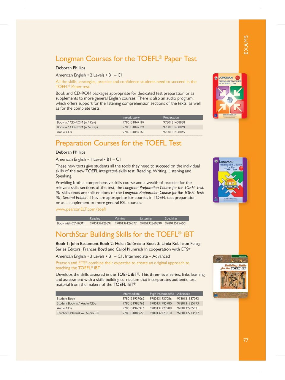 There is also an audio program, which offers support for the listening  comprehension sections of. 17 EXAMS Longman Preparation Series for the  TOEIC Test: ...
