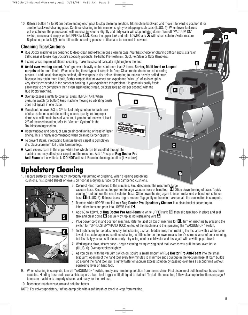 Instruction Guide with Warranty Hot-Water Extraction Carpet Cleaning on champion switch wiring diagram, rug doctor troubleshooting, panasonic switch wiring diagram,