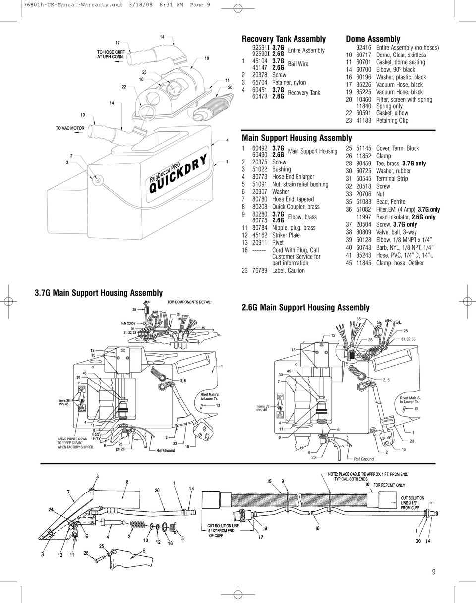 Instruction Guide With Warranty Hot Water Extraction Carpet Cleaning Rexair Wiring Diagram 6g Dome Assembly 92416 Entire No Hoses 10 60717 Clear