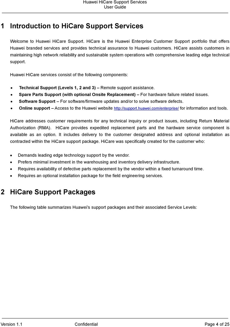 Huawei HiCare Support Services User Guide - PDF