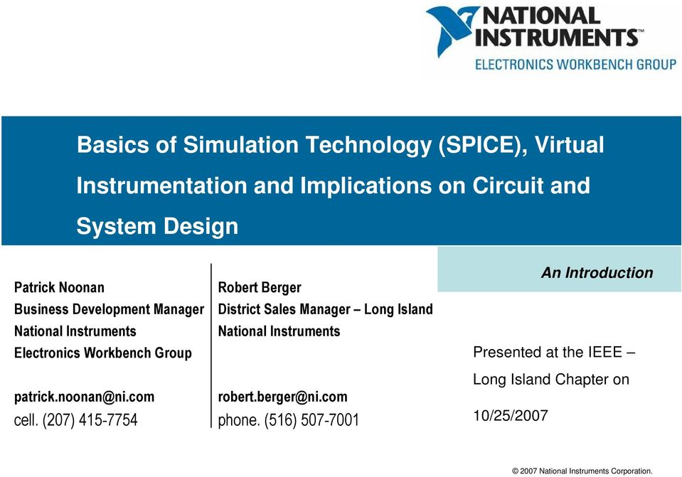 Basics of Simulation Technology (SPICE), Virtual Instrumentation and ...