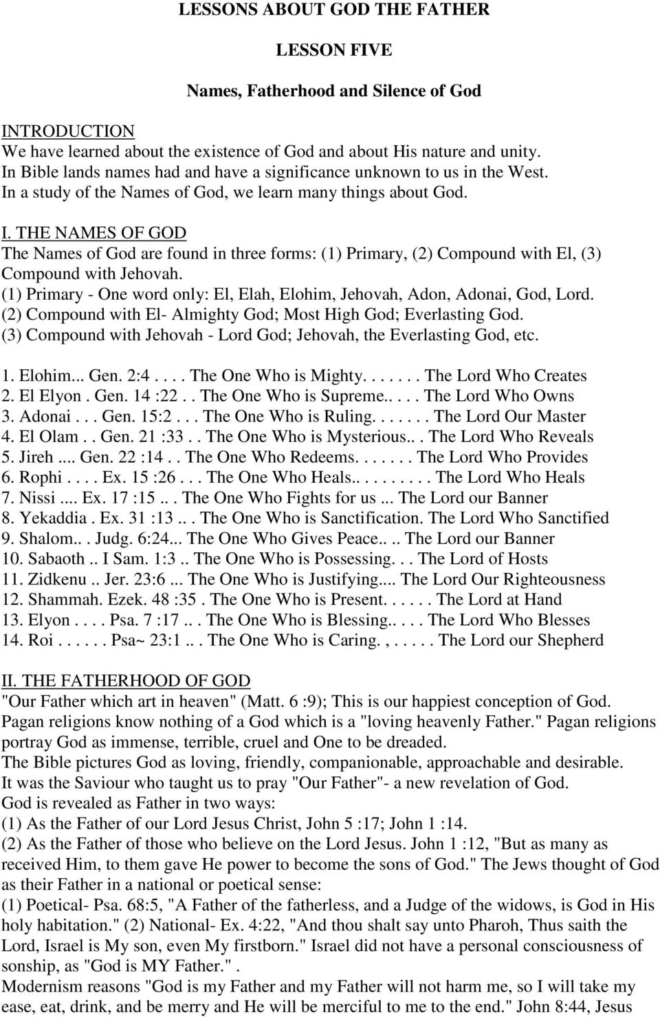 100 BIBLE LESSONS By Alban Douglas LESSON ONE  The Existence of God