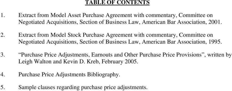 Table Of Contents 4 Purchase Price Adjustments Bibliography 5