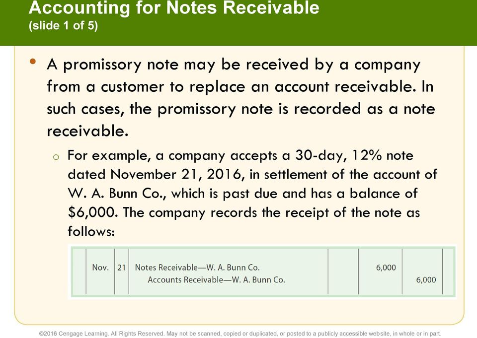 o For example, a company accepts a 30-day, 12% note dated November 21, 2016, in settlement of the account of