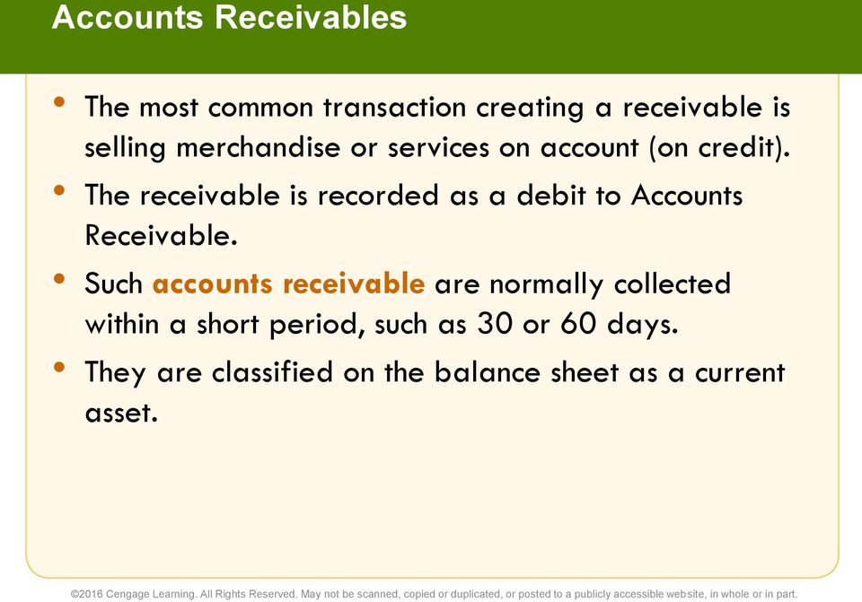 The receivable is recorded as a debit to Accounts Receivable.