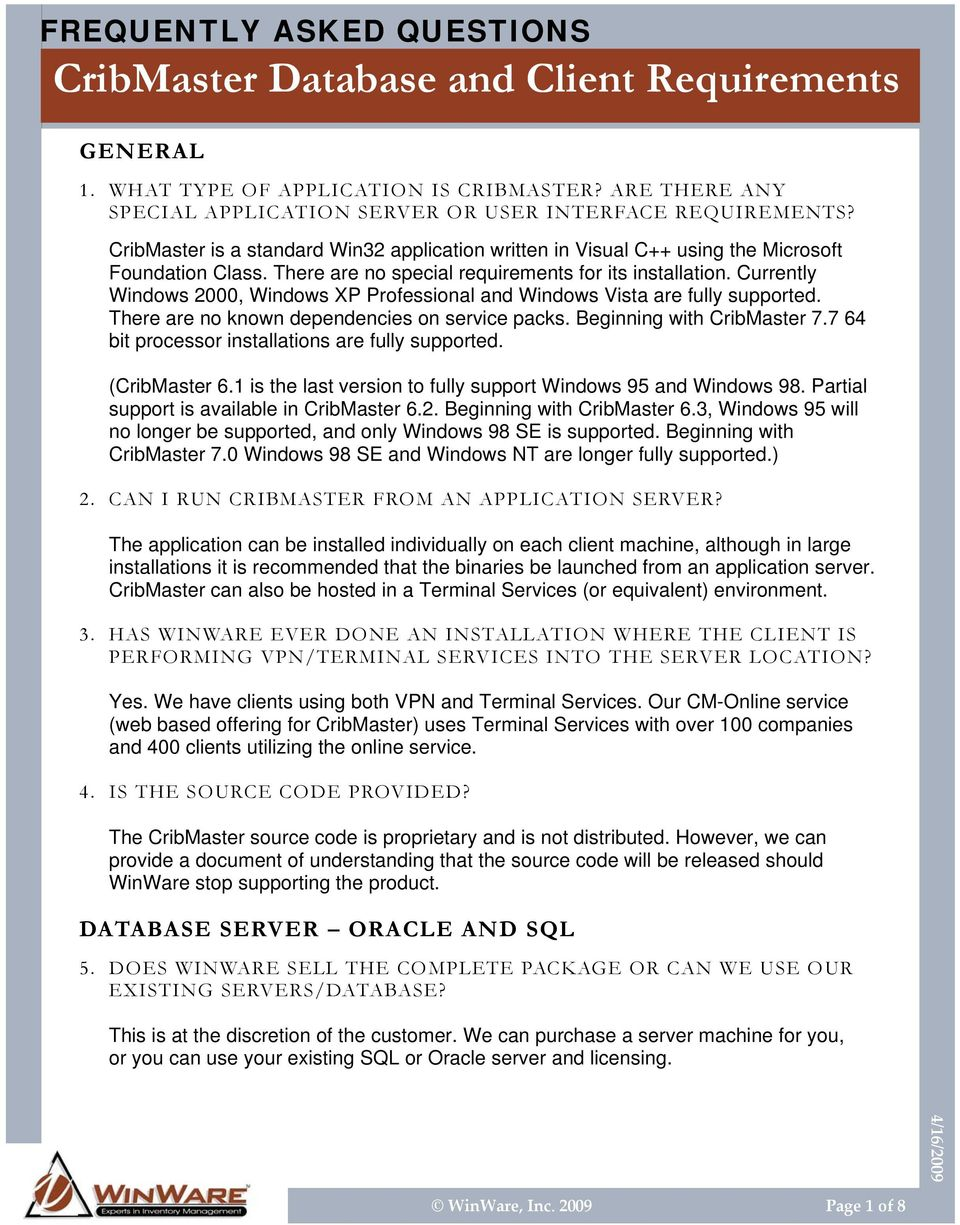 CribMaster Database and Client Requirements - PDF