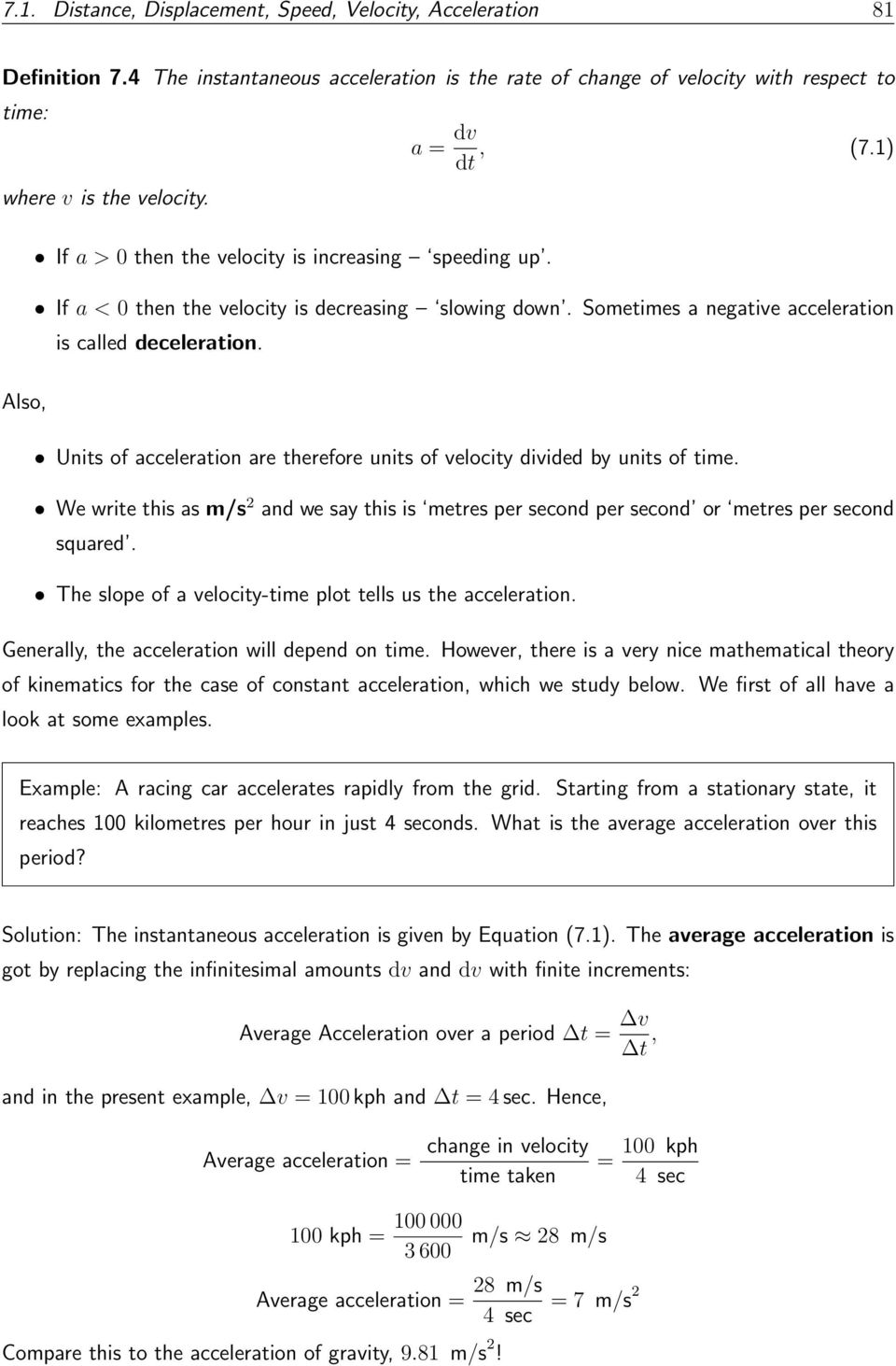 To Define Concepts Such As Distance Displacement Speed Velocity