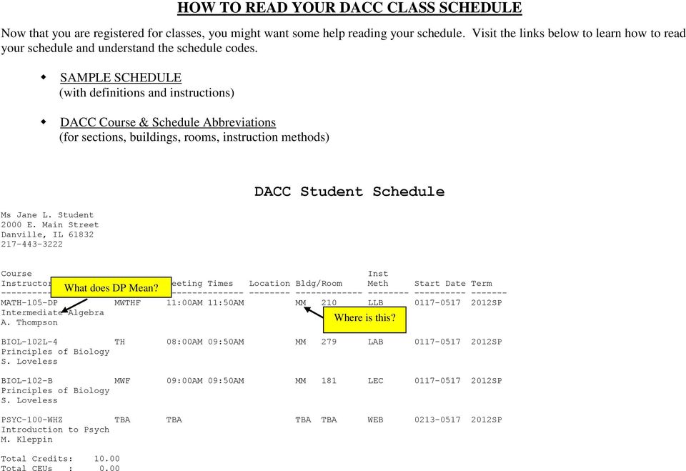 SAMPLE SCHEDULE (with Definitions And Instructions) DACC Course U0026 Schedule  Abbreviations (for Sections