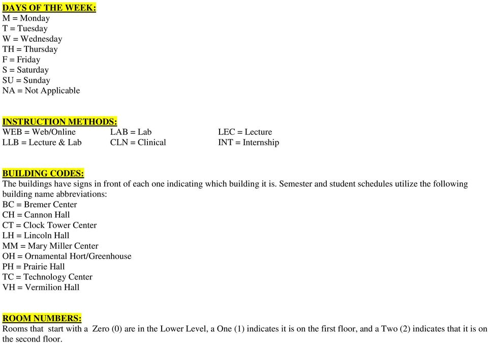 Semester And Student Schedules Utilize The Following Building Name  Abbreviations: BC U003d Bremer Center CH