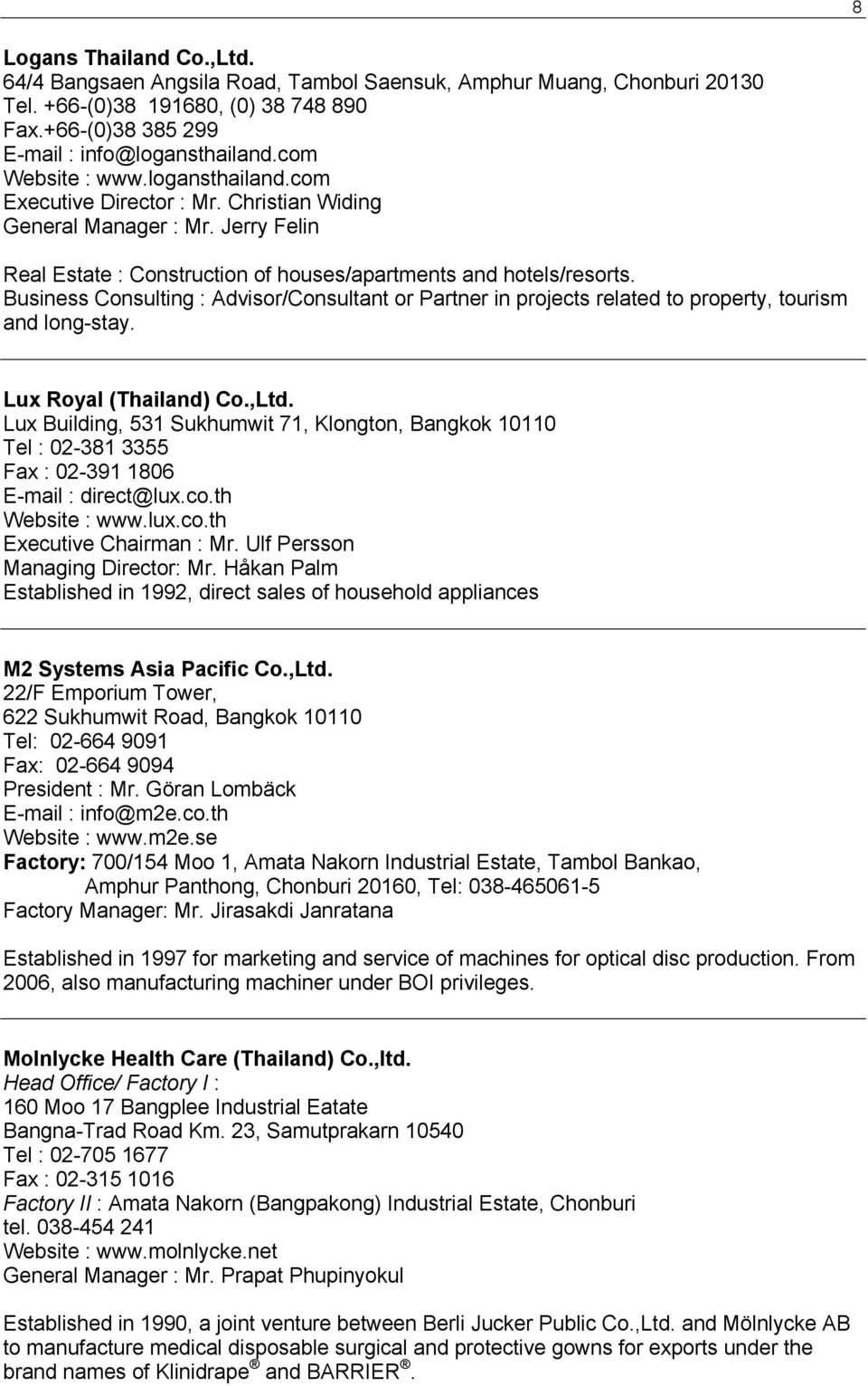 LIST OF COMPANIES WITH SWEDISH INTERESTS IN THAILAND - PDF