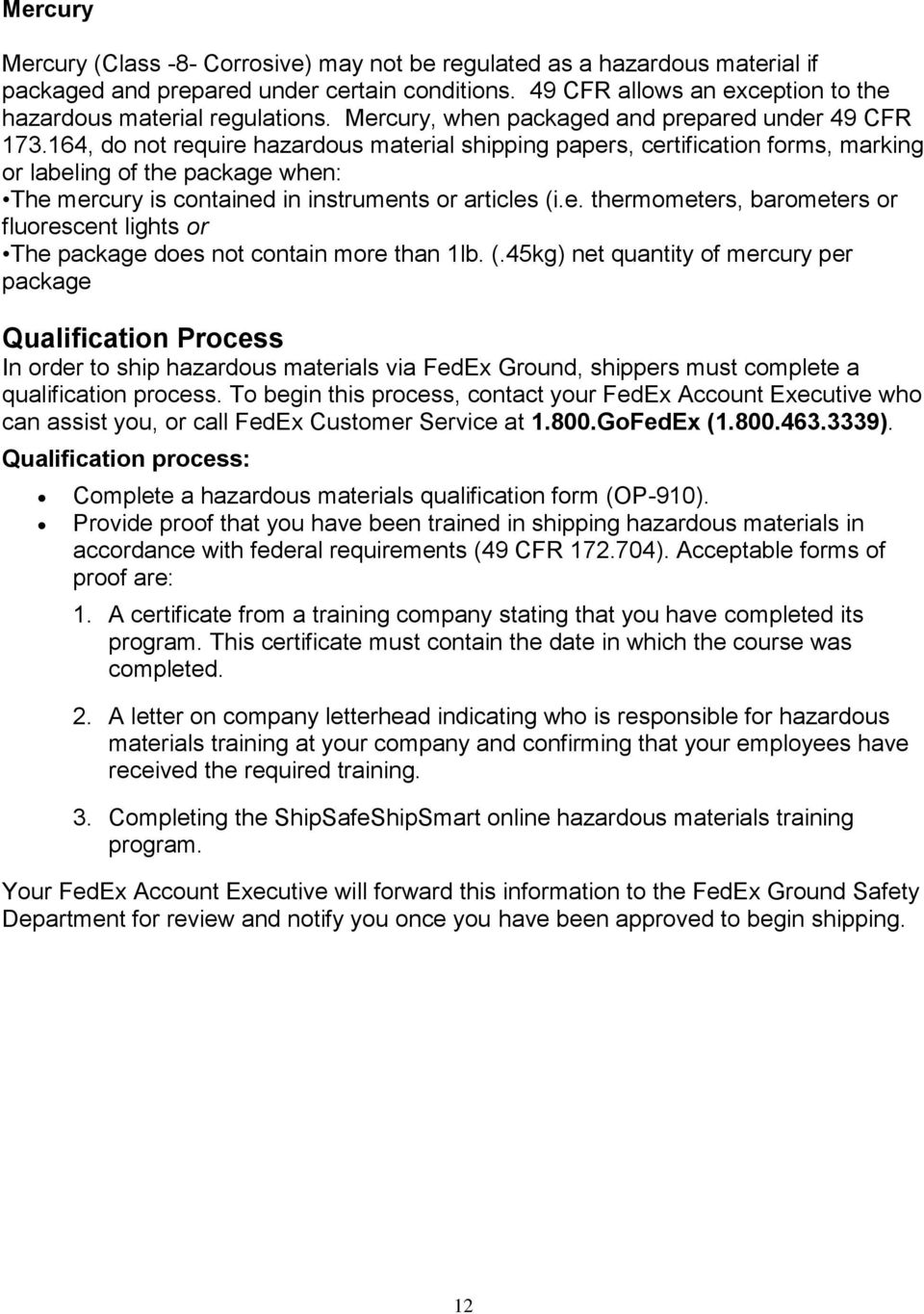 TABLE OF CONTENTS- TOPIC Page # FedEx Ground Prohibited
