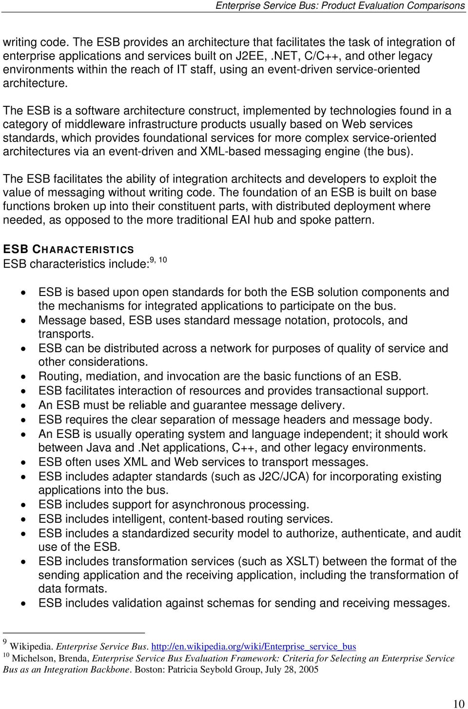 Enterprise Service Bus (ESB) Product Evaluation Comparisons