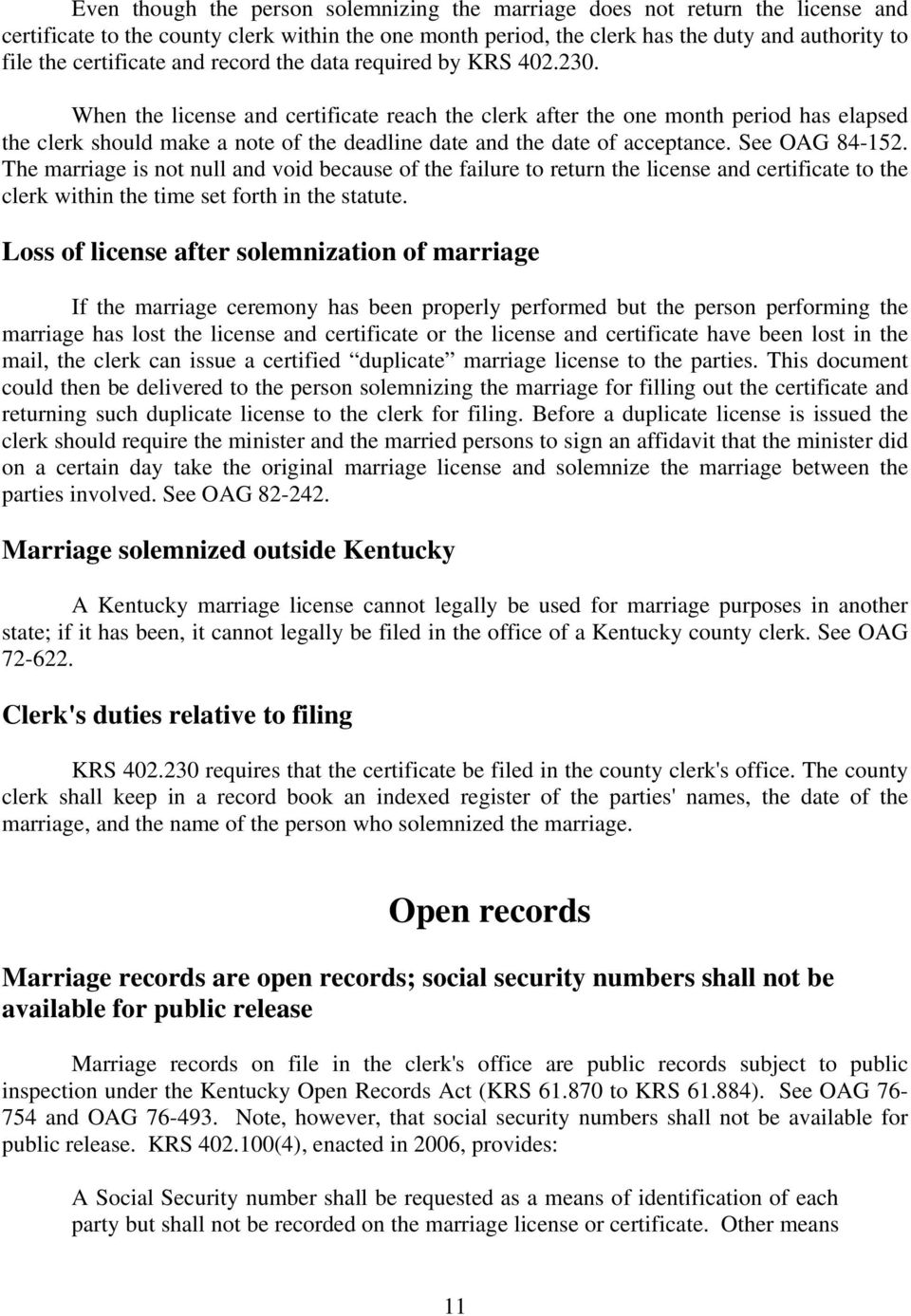 County Clerks' Guide  Kentucky Marriage Law - PDF