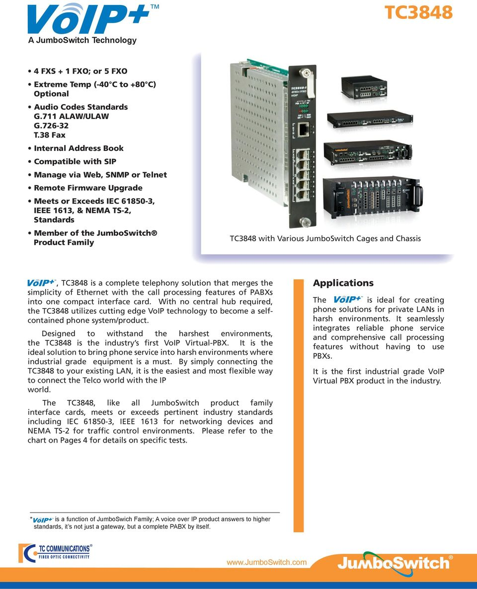 Various JumboSwitch Cages and Chassis, TC3848 is a complete telephony solution that merges the simplicity of Ethernet with the call processing features of PABXs into one compact interface card.