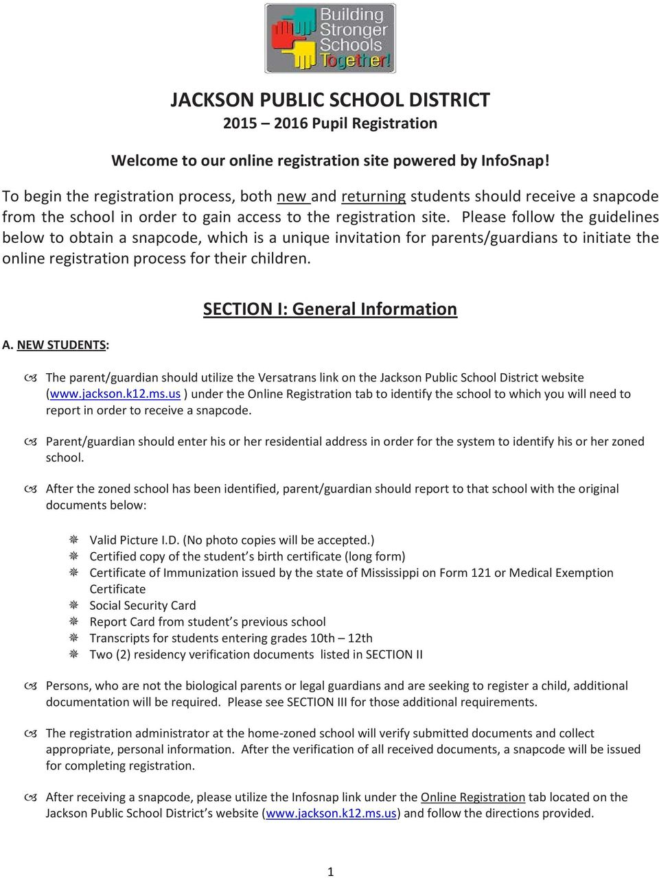 Jackson Public School District Pupil Registration Pdf