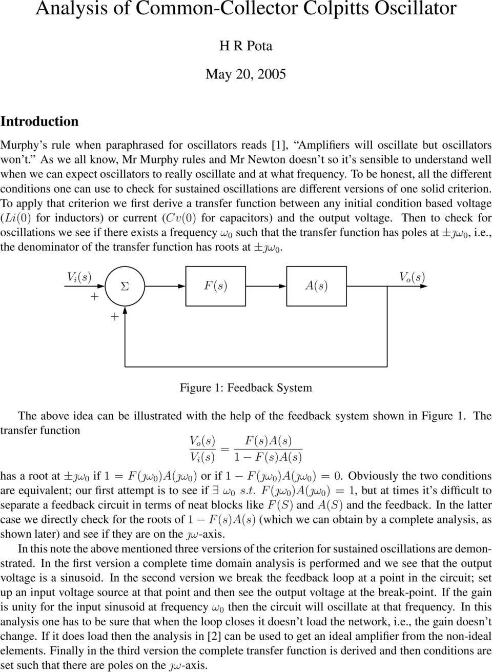 Analysis Of Common Collector Colpitts Oscillator Pdf The Utilizes A Tank Circuit Lc In Feedback To Be Honest All Different Conditions One Can Use Check For Sustained Oscillations