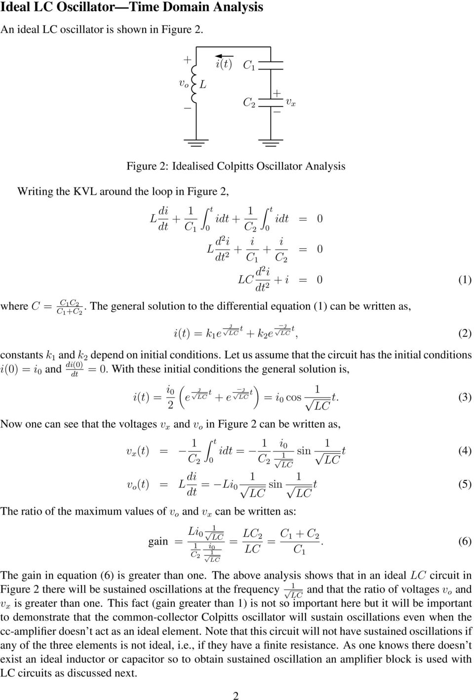 Analysis Of Common Collector Colpitts Oscillator Pdf The Utilizes A Tank Circuit Lc In Feedback General Solution To Differential Equation Can Be Written As I 3