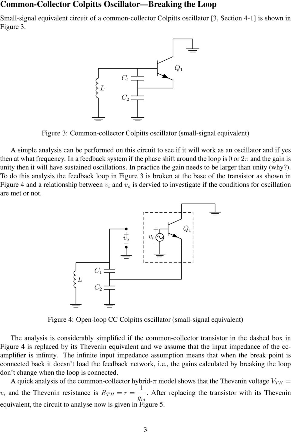 Analysis Of Common Collector Colpitts Oscillator Pdf Transistor Oscillators In A Feedback System If The Phase Shift Around Loop Is 0 Or 2 And