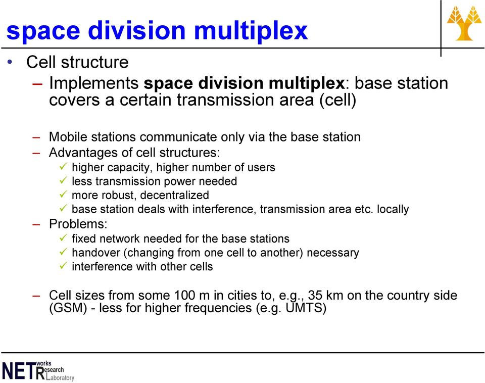 station deals with interference, transmission area etc.