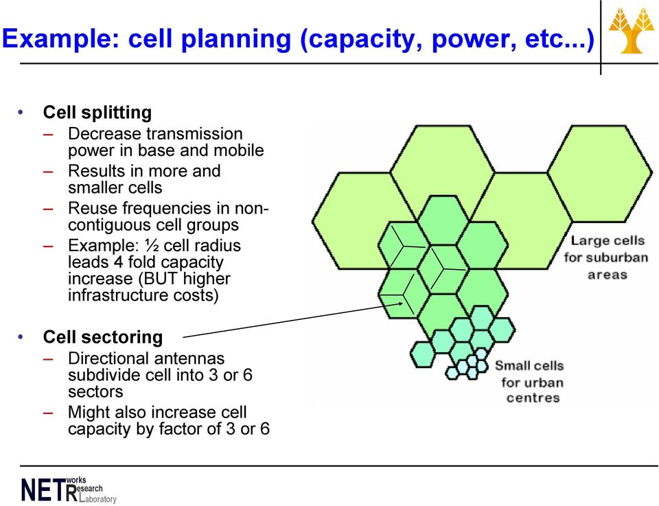 Reuse frequencies in noncontiguous cell groups Example: ½ cell radius leads 4 fold capacity increase