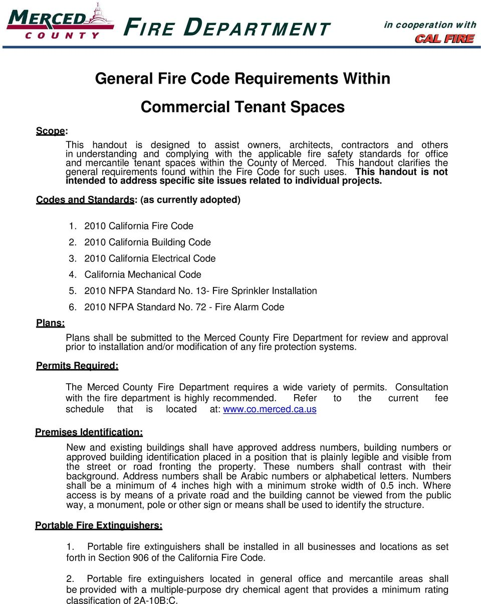 General Fire Code Requirements Within Commercial Tenant Spaces - PDF