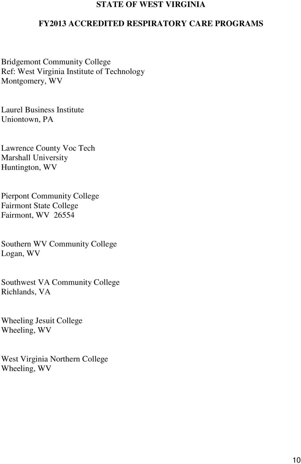 STATE OF WEST VIRGINIA BOARD OF RESPIRATORY CARE - PDF