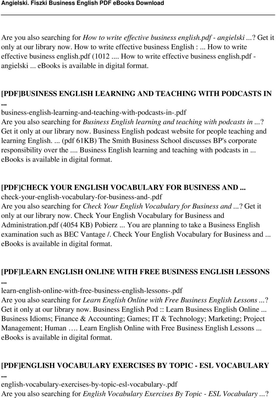 Angielski  Fiszki Business English - PDF