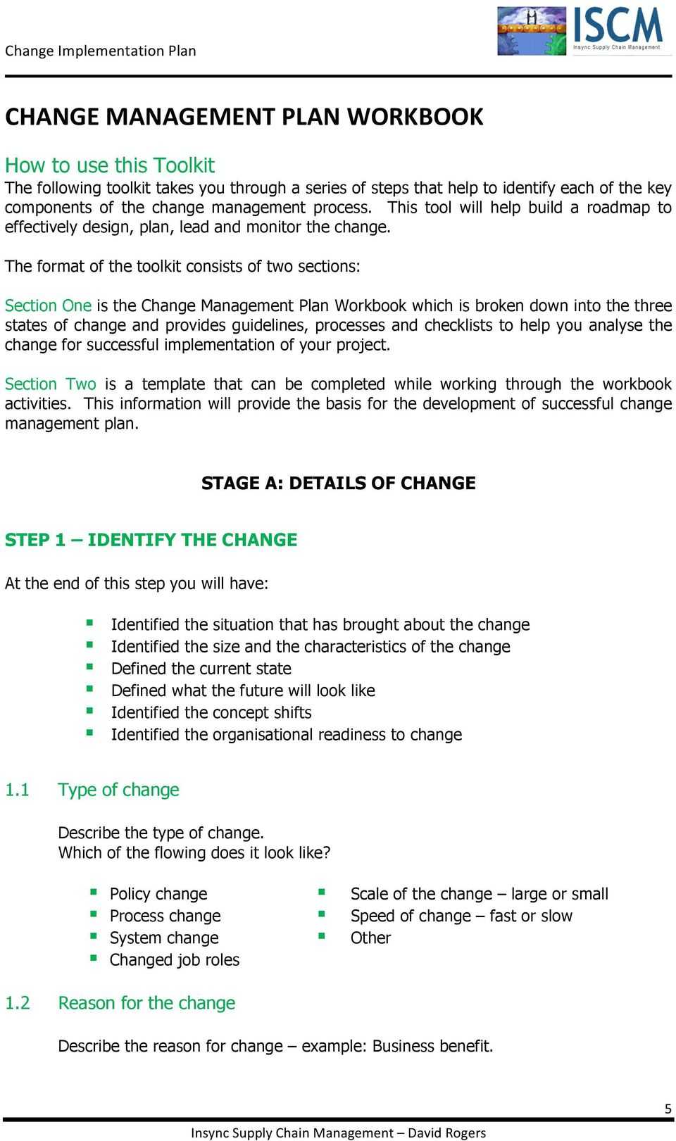 Change Management Plan Workbook And Template Pdf
