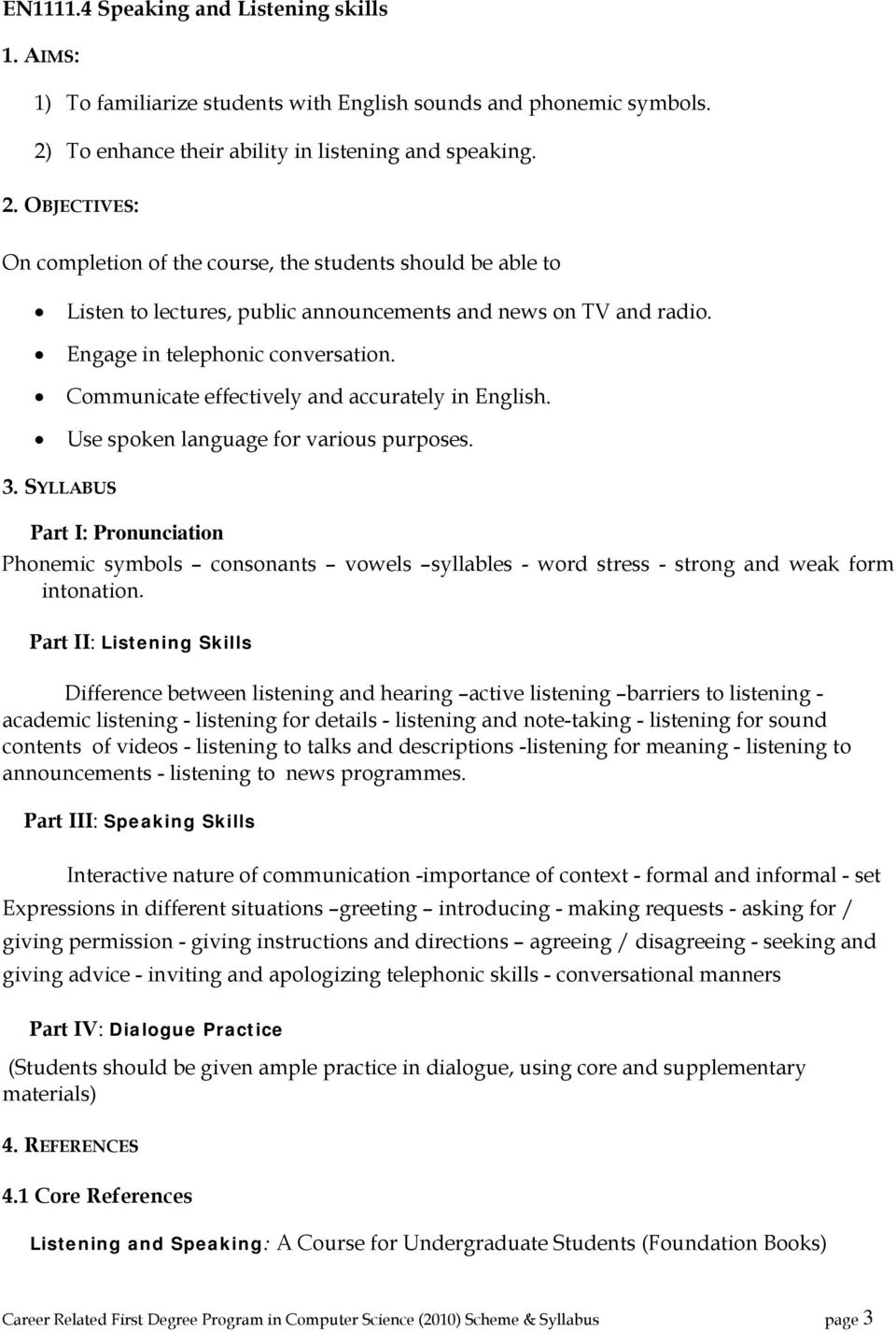 Career related first degree programme in computer science scheme engage in telephonic conversation communicate effectively and accurately in english use spoken language for fandeluxe Image collections
