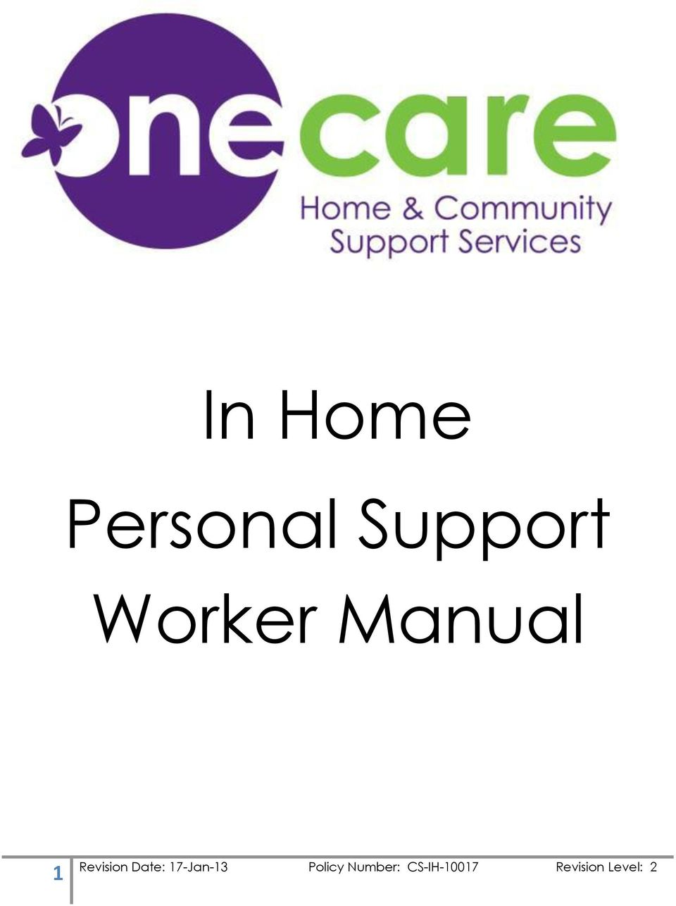 In Home Personal Support Worker Manual - PDF