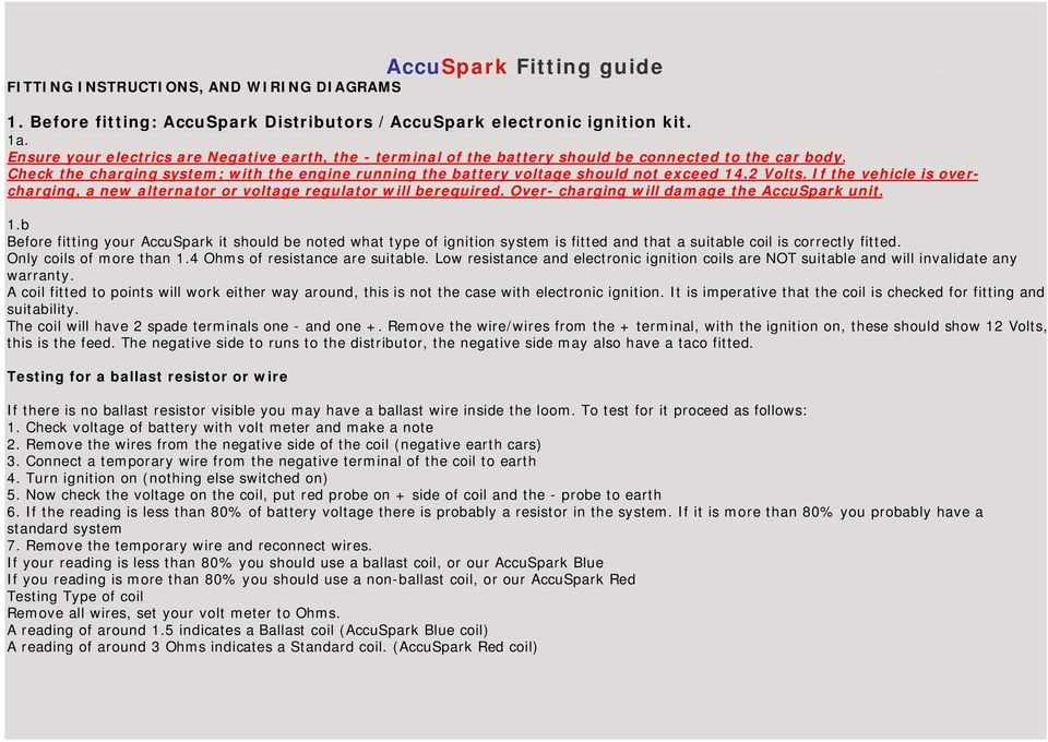 Groovy Accuspark Fitting Guide Fitting Instructions And Wiring Diagrams Pdf Wiring 101 Xrenketaxxcnl