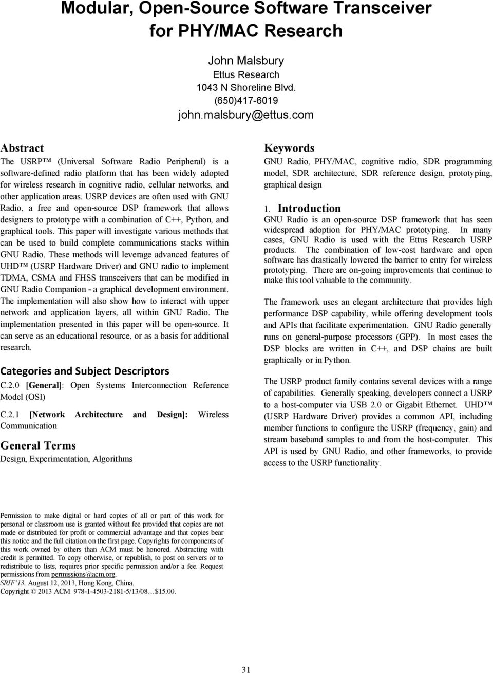 Modular, Open-Source Software Transceiver for PHY/MAC Research - PDF