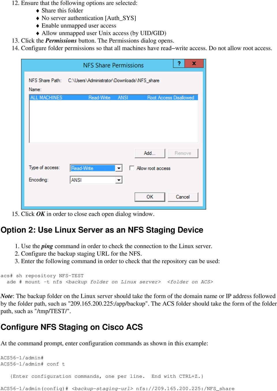 Configure NFS Staging for ACS 5 x Backup on Windows and