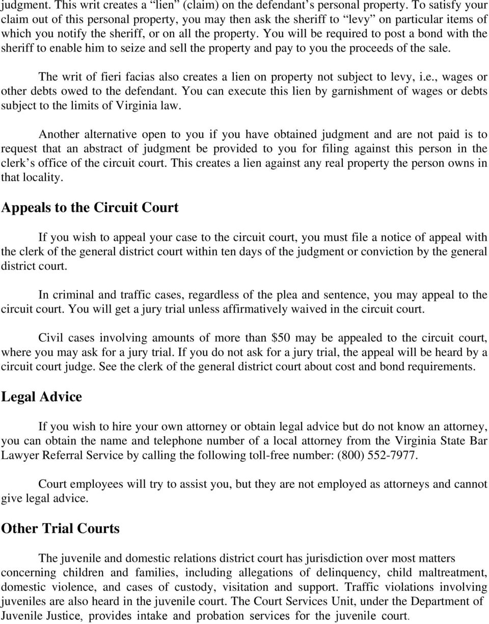 General District Courts Pdf No The Court Of Appeals Virginia Is A State Appellate For You Will Be Required To Post Bond With Sheriff Enable Him Seize