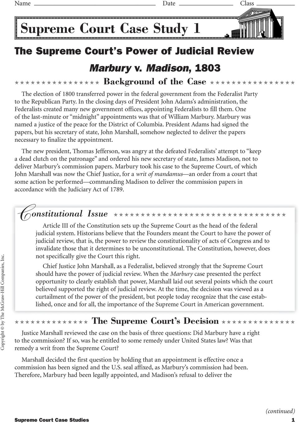 marbury v madison 1803 worksheet answers marbury v madison supreme in addition Marbury v Madison Worksheet also Us Consution Scavenger Hunt Answers moreover Marbury V Madison Political Cartoon ysis   lairfan org together with Marbury V Madison 1803 Worksheet Answers 68130 Factual Questions On further Today in Supreme Court History  The Court decides Marbury v  Madison also Us Government Worksheets Consution For High School Civics And together with Marbury v  Madison  1803 further marbury v madison 1803 worksheet answers supreme court cases marbury likewise Quiz   Worksheet   John Marshall's Supreme Court   Study in addition Judicial Review Marbury v  Madison furthermore Supreme Court Case Stus   PDF in addition  furthermore Unled moreover marbury v madison worksheet also Marbury v  Madison  1803    Bill of Rights Insute. on marbury v madison worksheet answers