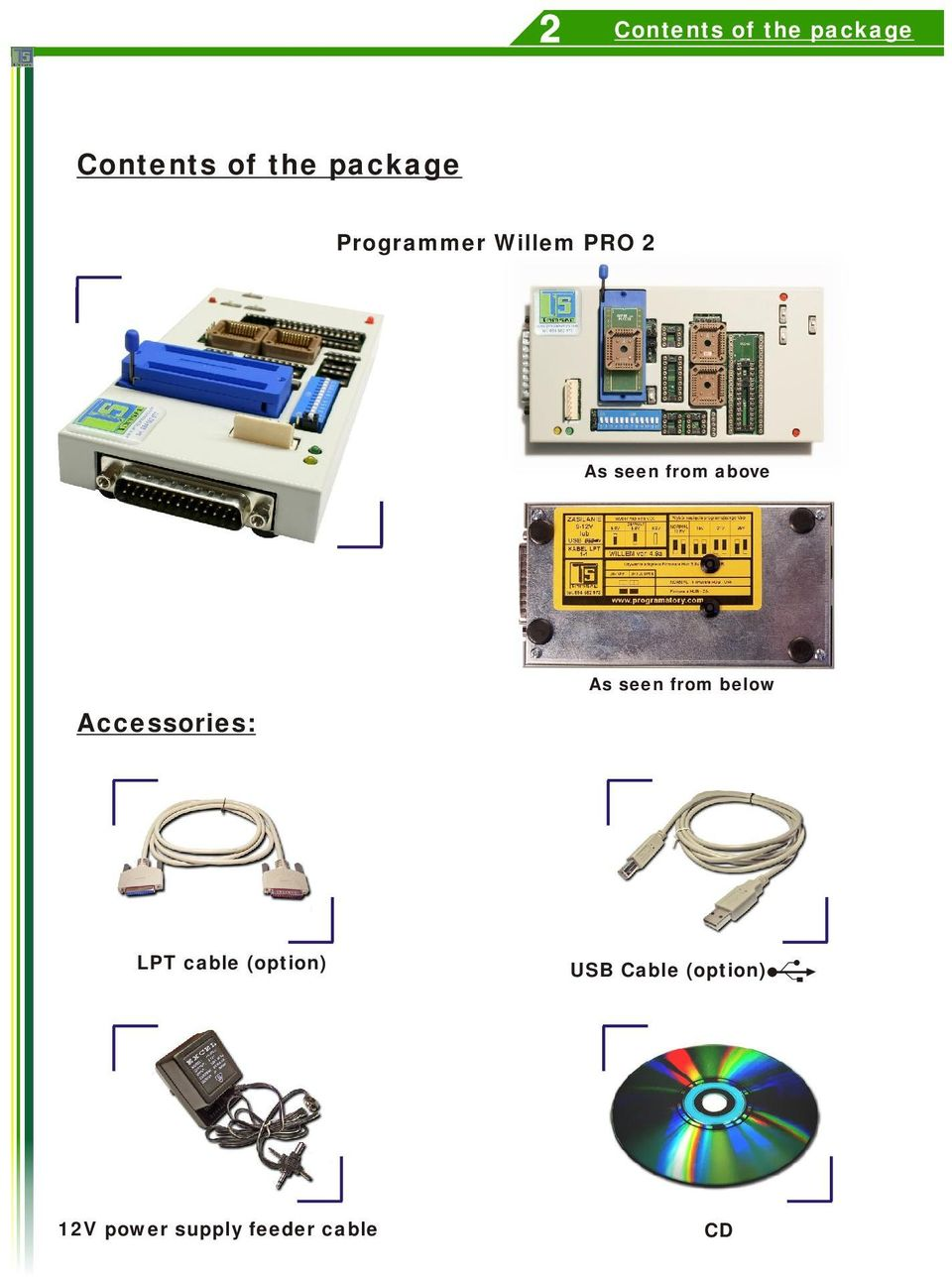 Willem Pro 2 Only Intelligent Programming Pdf Usb 62b Cable Schematic Above Accessories As Seen From Below Lpt