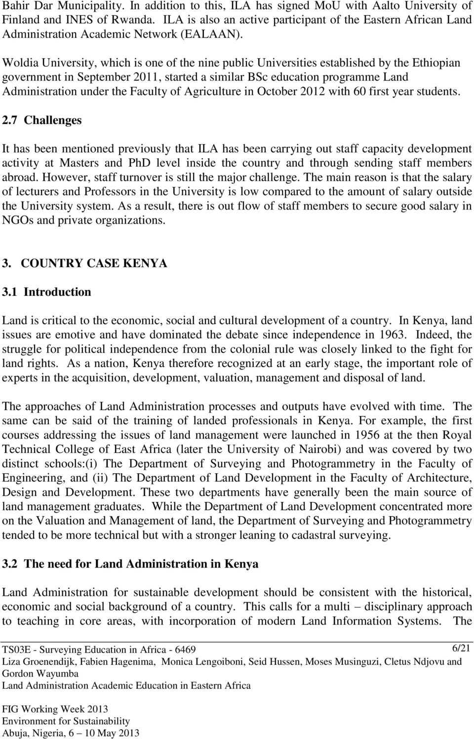 Land Administration Academic Education in Eastern Africa - PDF