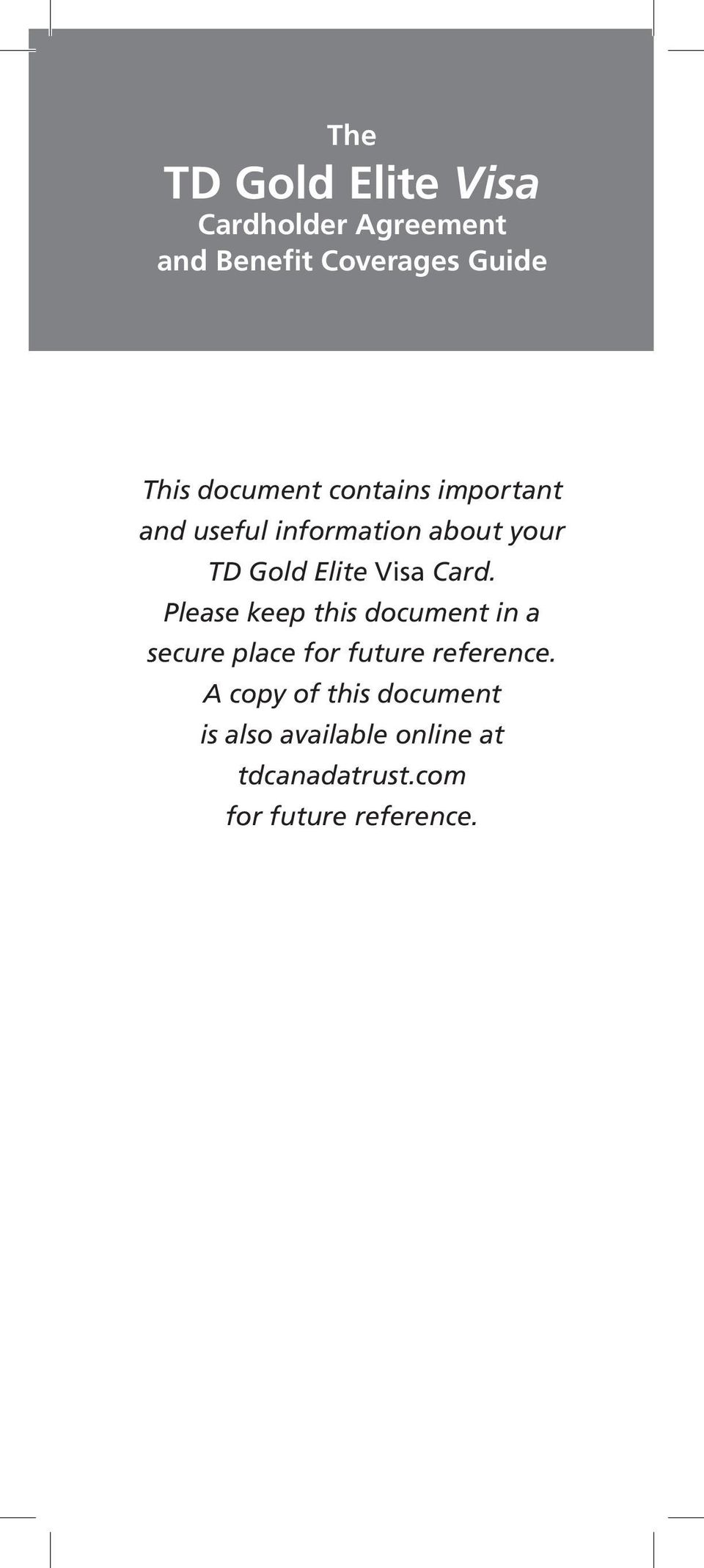 card please keep this document in a secure place for future reference - Elite Visa Card