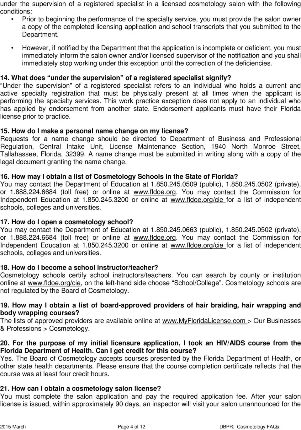 BOARD OF COSMETOLOGY FREQUENTLY ASKED QUESTIONS AND ANSWERS