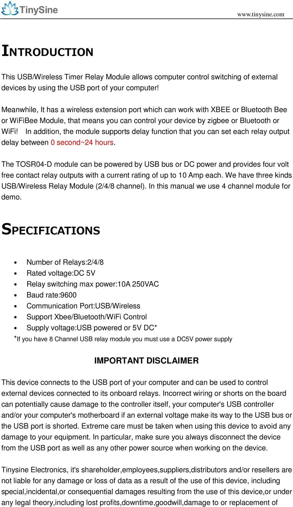 TOSR0X-D  USB/Wireless Timer Relay Module  User Manual  Tinysine