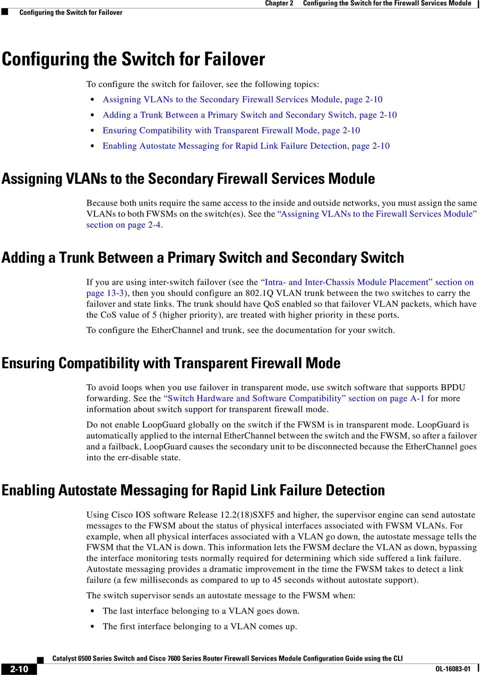 Configuring The Switch For Firewall Services Module Pdf Note Ports On That Are Connected To Asa Must Be In Failure Detection Page 2 10 Assigning Vlans Secondary Because